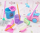 Dollhouse Miniature Cleaning Kit for Girl Barbie Dolls , Household cleaning tools for barbie dolls (1 Set=9 pcs) by PP
