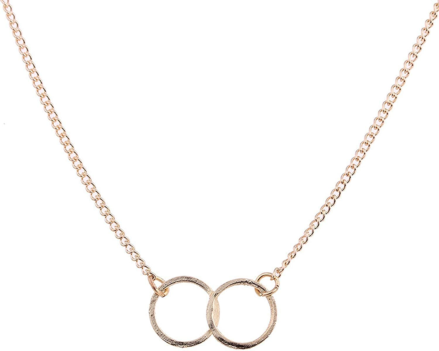New Gold-Color Double Circle Alloy Chocker Short Necklace
