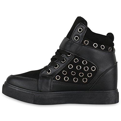 Stiefelparadies Damen Sneakers Keilabsatz Sneaker-Wedges High Top Schuhe Flandell Schwarz Ösen