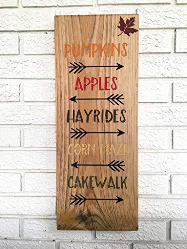 Pumpkins Apples Hayrides Cakewalk Cornmaze Halloween House Harvest Festival Autumn Festival Corn Maze Rustic Handmade Wooden Hanging Sign Plaque ()