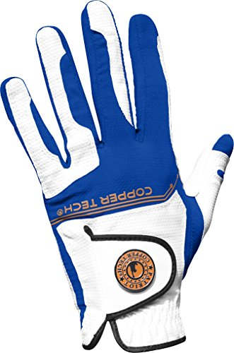 Copper Tech Gloves Men's Golf Glove with Honeycomb Grip, One Size, White/Royal Blue ()