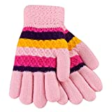 Fheaven Baby Color Block Striped Gloves Thicken Striped Finger Warm Knitted Mittens Gloves