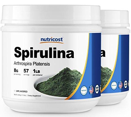 Nutricost Spirulina Powder 1LB (2 Bottles) - Pure Spirulina Powder; 8000mg Per Serving; 57 Servings each - High Quality Spirulina