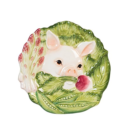 French Market Collection, Snack Plate, White/Green/Pink -