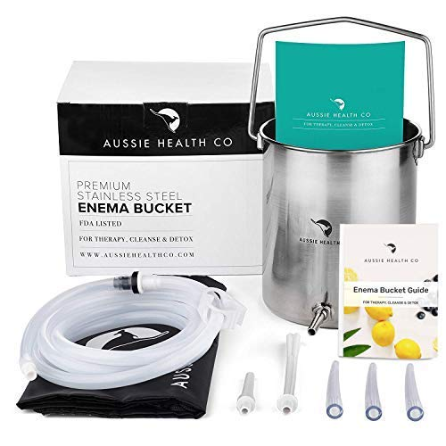 Aussie Health Co Non-Toxic Stainless Steel Enema Bucket Kit. 2 Quart, Phthalates & BPA-Free. Reusable For Home, Coffee, Water Colon Cleansing Detox Enemas. Includes Nozzle Tips, Storage Bag and Guide. ()