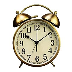 xihaiying 4 inch Silent Gold Clock for Desk,Small Decorative Non Ticking Quartz Twin Bell Round Alarm Clocks for Heavy Sleepers with Night Light (Gold)