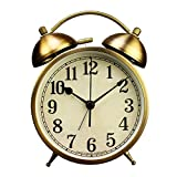 4 inch Antique Silent Gold Mantel Alarm Clock,Small Decorative Non Ticking Quartz Twin Bell Round Clocks Heavy Sleepers Night Light Function