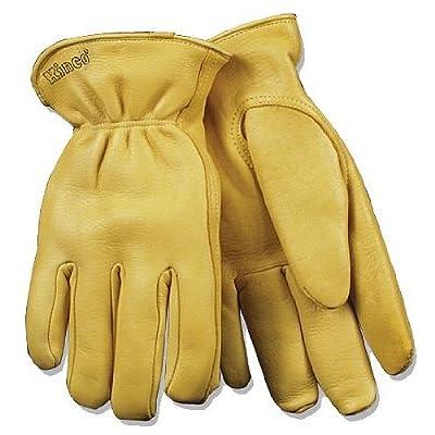 KINCO 90HK-S Men's Lined Grain Deerskin Gloves, Heat Keep Lining, Double Shirred Elastic Back, Small, Golden