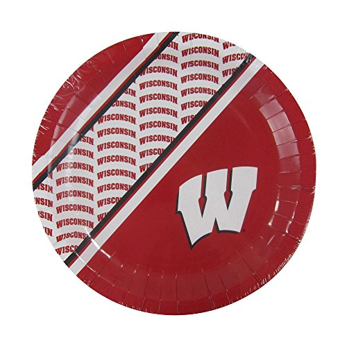 Duck House NCAA Wisconsin Badgers Disposable Paper Plates, Pack of 20 by Duck House