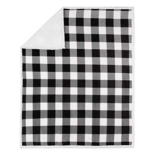Safdie & Co. 50x60 Buffalo Plaid White and Black Ultra Soft Throw, Multi Color