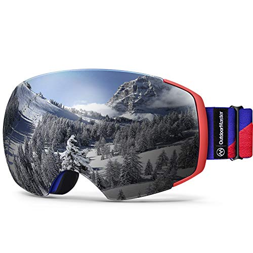 OutdoorMaster Ski Goggles PRO - Frameless, Interchangeable Lens 100% UV400 Protection Snow Goggles for Men & Women (Blue-Red Frame VLT 10% Grey Lens and Free Protective Case)