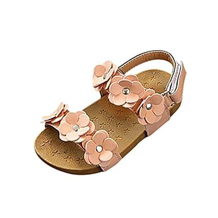 86a7e6978579 Amazon.com  Hemlock Girls Sandals Flower Flats Shoes Toddler Kids Soft Sole  Beach Slipper Flats (4 years old