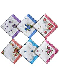 Cute Womens Vintage Floral Cotton Handkerchiefs for Wedding Party (set of 10 pieces)