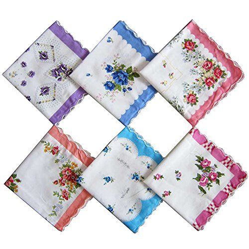 Cute Womens Vintage Floral Cotton Handkerchiefs for Wedding Party (set of 10 pieces) smart sisi