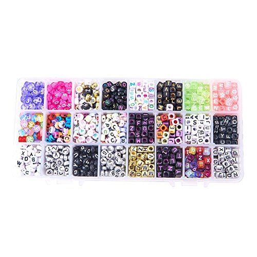 PandaHall Elite 1 Box 24 Mixed Style Acrylic Alphabet Letters Beads Cube Oblate Charms for DIY Loom Bands Bracelets