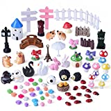 Kuuqa 81 Pieces Miniature Fairy Garden Ornaments Kit for Fairy Garden Décor