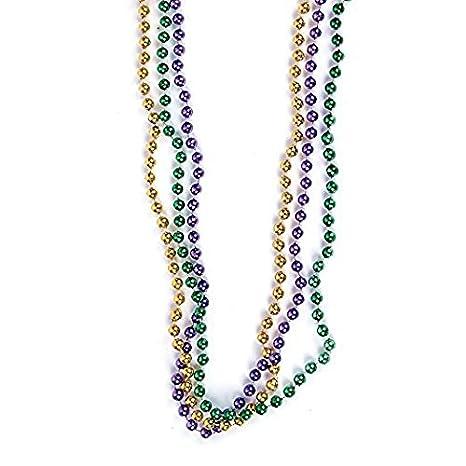 Forum Novelties 33 inch 07mm Round Metallic Purple Gold and Green Mardi  Gras Beads - 12 Dozen (144 Necklaces)
