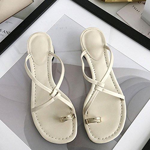 Moda del de UK6 y de CAICOLOR Cruzadas Tacón Grueso Zapatillas Mujeres Cinturón EU39 Las Simples CN39 Color Sandalias Tamaño Slipper Negro Beige H06xwvqH