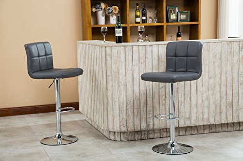 Roundhill Furniture Swivel Leather Adjustable Hydraulic Bar Stool, Set of 2, Gray
