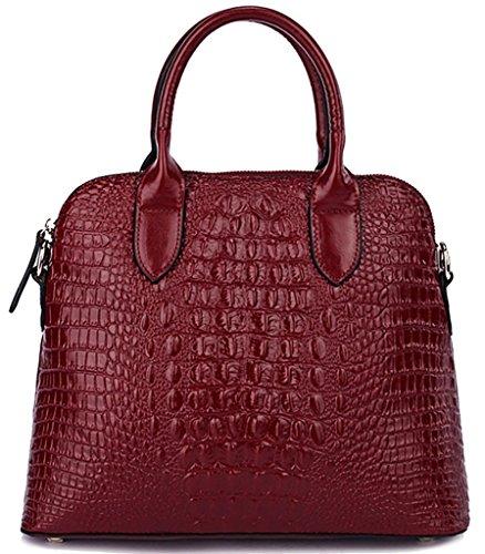QZUnique Women's Cowhide Genuine Leather Crocodile Veined Cross Body Shoulder Handle Amphibious Shell Bag Wine Red