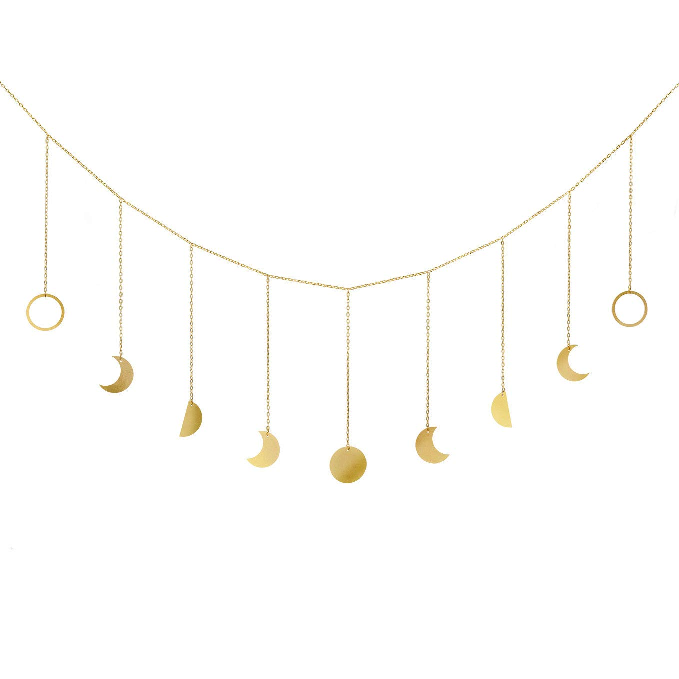 Mkono Moon Phase Garland with Chains Boho Gold Shining Phase Wall Hanging Ornaments Moon Hang Art Room Decor for Wedding Home Office Nursery Room Dorm, Gold