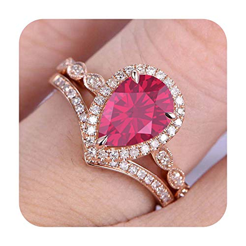 RUDRAFASHION 7x9mm Pear Cut Created Pink Ruby & Diamond 14k Rose Gold Plated Art Deco Wedding Bridal Halo Ring Cuvred 'V' Band for Women's