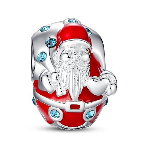 Glamulet Art 925 Sterling Silver Santa Christmas Charm Fits Pandora (14k Gold Murano Glass)