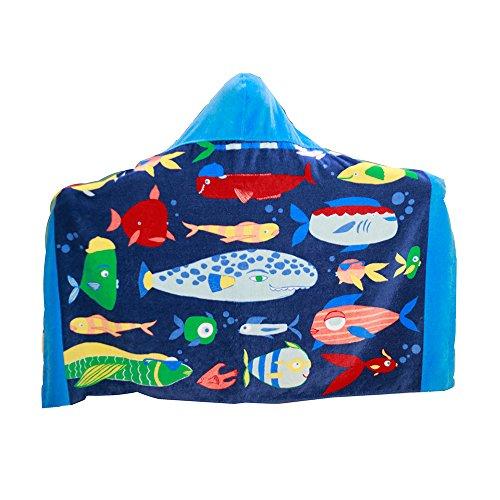 AteAte Cute Cartoon Baby Kids Hooded Bath Towel Toddler Boy Girls Beach Towel New 100% Cotton 400 GSM(Bottom Fish)