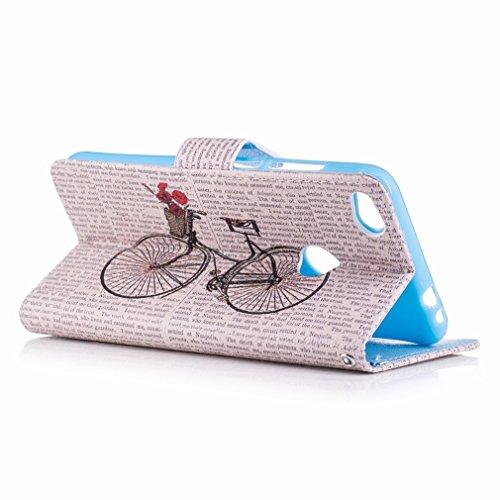 Yiizy Huawei P8 Lite (2017) / Honor 8 Lite / Nova Lite Funda, Bicicleta Diseño Solapa Flip Billetera Carcasa Tapa Estuches Premium PU Cuero Cover Cáscara Bumper Protector Slim Piel Shell Case Stand Ra