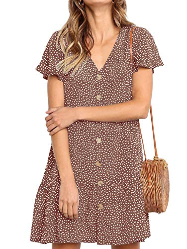 LANREMON Women's Dresses Casual Button Down Polka Dot V-Neck Short Sleeve Ruffles Loose Fit Mini Summer T-Shirt Dress Brown L