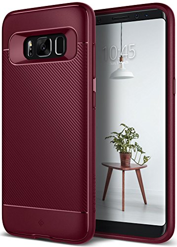 Caseology Galaxy S8 Case, [Vault II Series] Slim Protective Shock Absorbing TPU Textured Grip Corner Cushion Design for Samsung Galaxy S8 (2017) - Burgundy by Caseology