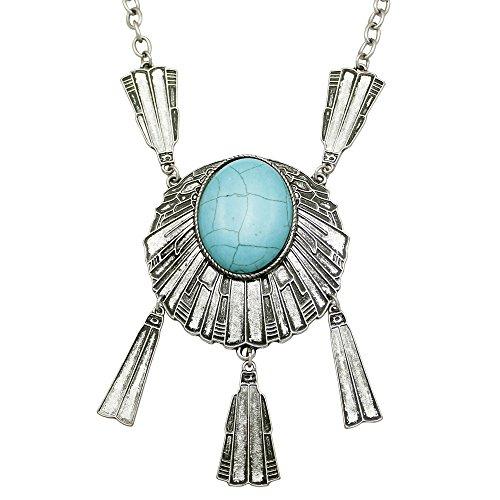 Q&Q Fashion Vintage Silver Turkey Dream Catcher Blue Stone Concho Zuni Navajo Chain Bib Necklace (Concho Chain Necklace)