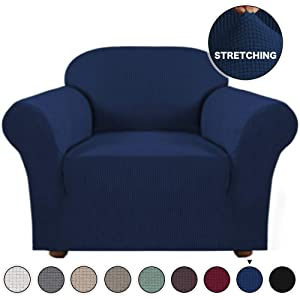 Turquoize High Stretch Sofa Cover 1 Piece Furniture Protector Sofa Cover Navy Chair Covers for Living Room Durable Spandex Fabric with Jacquard Pattern Spandex Sofa Slipcover (Navy, Chair Cover)