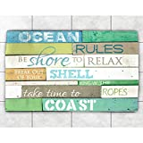4 x 6ft Blue Brown Ocean Rules Cabin Area Rug, Polyester Bright Colored Cottage Themed Beach Sea Water Front Swimming FIshing Pacific Atlantic Novelty Rectangular Kitchen Entryway Accent Carpet