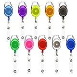 Retractable Badge Holder,10pcs Id Card Holders Badge Reel Clips in 10 Colors