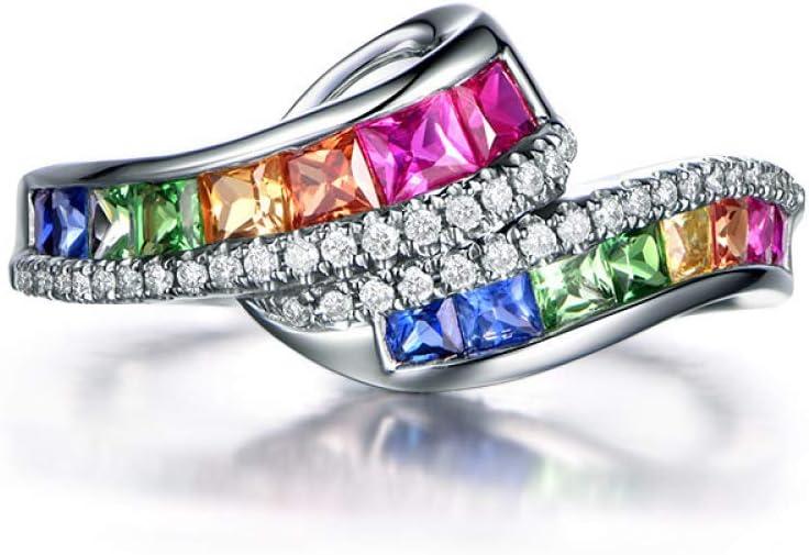 Accesorios Transfronterizos Anillo de Zafiro Rojo Natural 18 K Oro con Incrustaciones de Diamantes Arco Iris de Color Anillo de Piedras Preciosas Hembra,Platino,No.9
