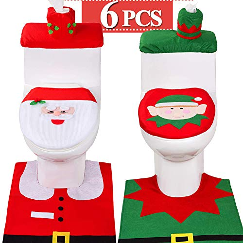 6 Pieces Christmas Toilet Seat Cover Decorations,3D Nose Christmas Santa Elf Toilet Seat Cover Set Christmas Bathroom Decor Xmas Home Indoor Decor