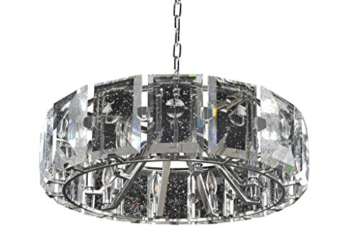Kalco 390452SL Giada - Eight Light Pendant, Stainless Steel Finish with Clear Seeded - Giada Glasses