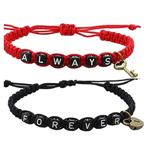 Couple Bracelets Couple Bracelet ALWAYS and FOREVER Bracelets Wedding Anniversary gift (black and red)