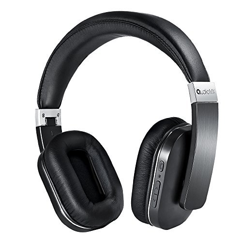 AudioMX Over-Ear Stereo Bluetooth Headphones with AptX Low Latency, Noise Isolation (Chrome Carbon)