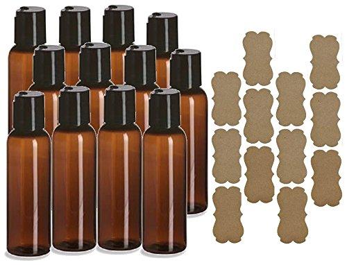 (SanDaveVA Brand 2oz Plastic Bottles Amber PET Qty 12 w/Smooth Black Disc Top Cap and Kraft Labels 60ml BPA Free)