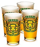 Pint Glasses – Firefighter Gifts for Men or Women – Firefighter Irish Heritage Beer Glassware – Beer Glasses with Logo - Set of 4 (16 Oz)