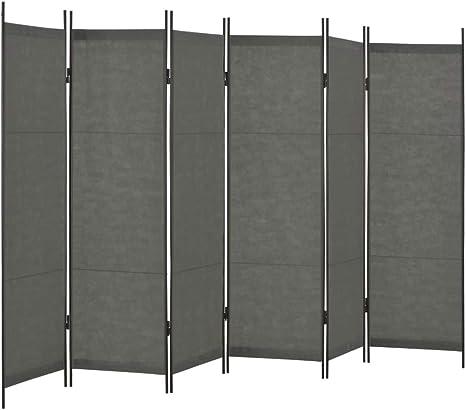 vidaXL Biombo Divisor Mobiliario Decoración Ocultación Privacidad Independiente Práctico Vestidor Privado Plegable 6 Paneles Gris Antracita 300x180cm: Amazon.es: Hogar
