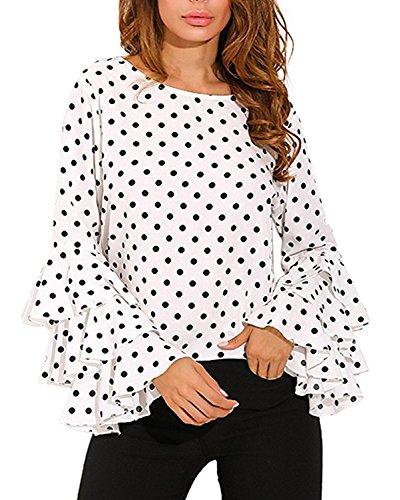 Kyerivs Women's Blouses Polka Dot Ruffled Flounce Long Sleeve Elegant Tee Tops Casual Shirts White ()