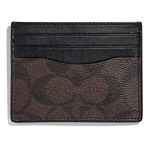 Coach Men's Slim Leather Card Case in Signature Canvas (Mahogany/Black) (Compact Id Wallet In Signature Coated Canvas)
