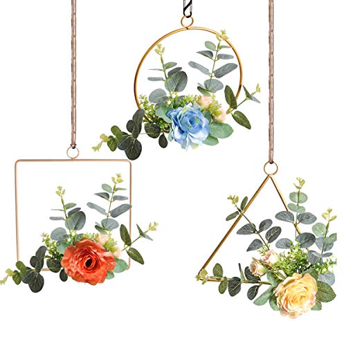 Pauwer Metal Floral Hoop Wreath Set of 3 Artificial Rose Flower with Eucalyptus Greenery Leaves Wall Hoop Garland for Wedding Backdrop Nursery Wall Decor ()