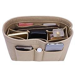 "Felt Purse Handbag Organizer  Material: Felt Fabric  Color:  Beige, Red, Black, Grey, Coffee, Lighting Coffee, Pink, Lighting Pink, Wine Red, Blue, Green, Rose, Purplish Blue 13 Colors for choose  Internal Dimensions: Small:(L)8.85""(W)4.5""(H)..."