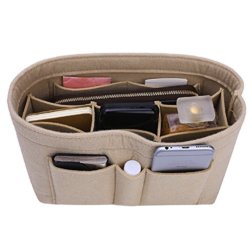Felt Insert Bag Organizer Bag In Bag For Handbag Purse Organizer, Six Color Three Size Medium Large X-Large (Medium, Beige)