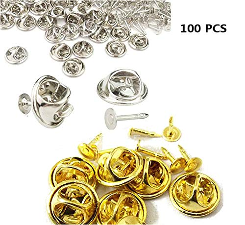 Fireboomoon 100 Pack Tie Tacks Blank Pins With Clutch Back, Comfort Fit Butterfly Clutch Metal Pin Backs Replacement Blank Pins,Tie Tack,Tie Tack Blanks,Butterfly Clutch Pin Backs (Silver, Gold)
