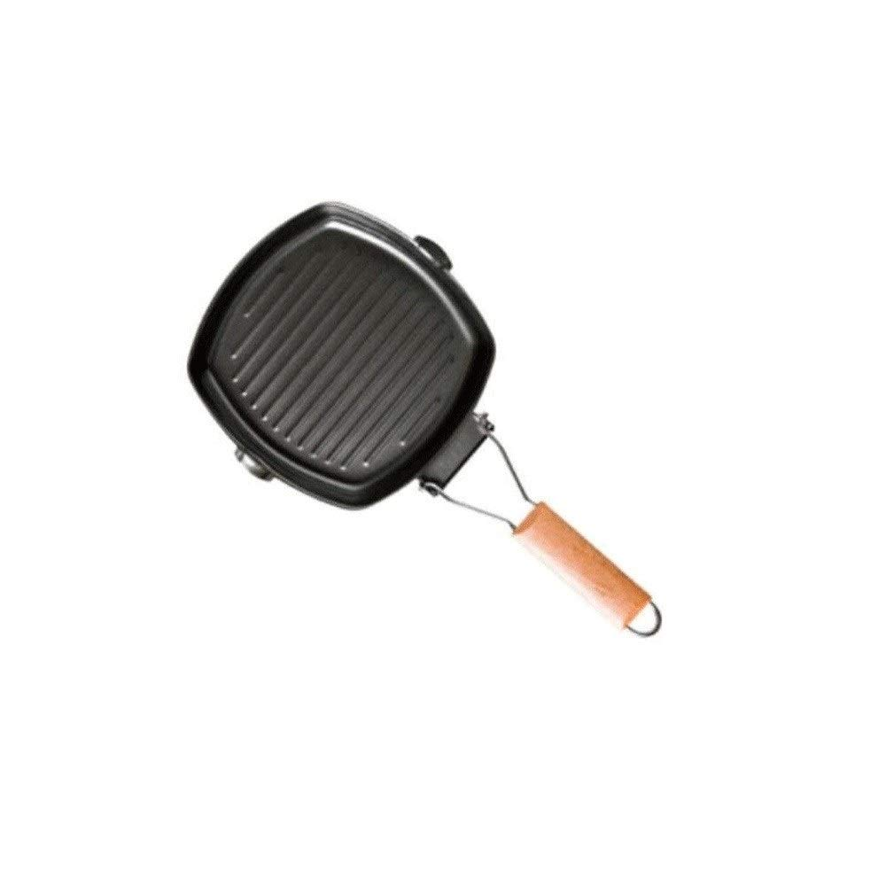 ZYK Frying pan, creative personality steak frying pan cast iron pot striped uncoated non-stick pan, insulated non-slip wooden handle, 22/26/30 cm frying pan double guide (Size : 22CM) by ZYK
